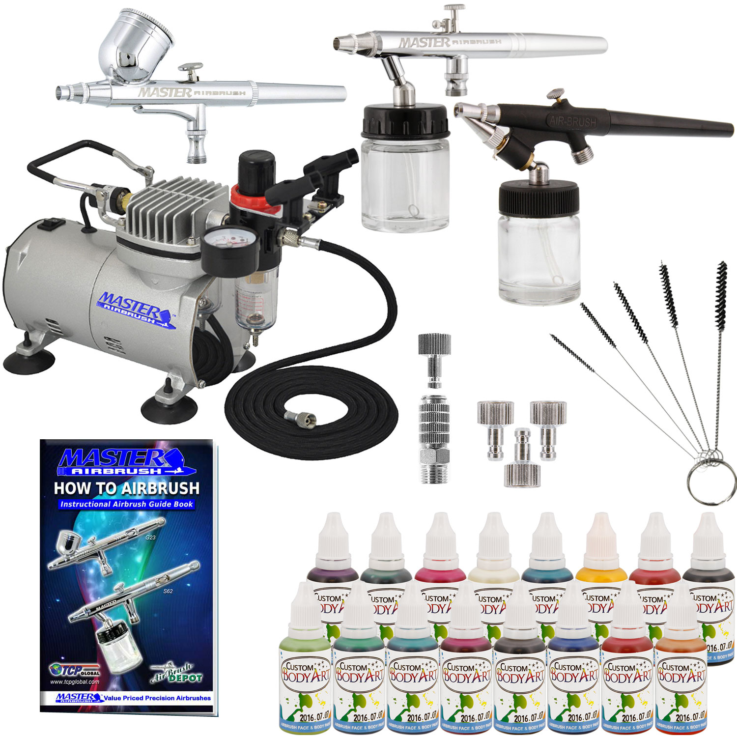 Pro 3 airbrush face paint body art system 16 color kit air for Airbrush tattoo kit